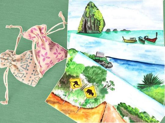 Urlaubskarte und Geschenk